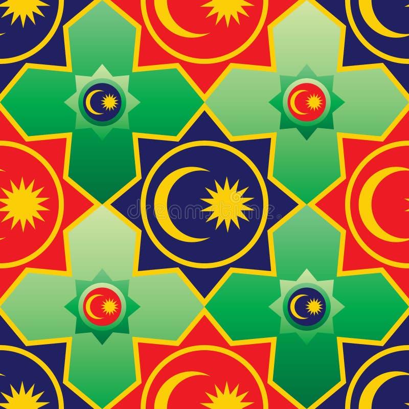 Ramadan Kareem för Malaysia flaggabeståndsdel sömlös modell royaltyfri illustrationer