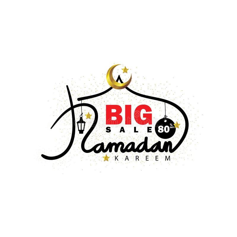 Ramadan Kareem försäljningsbokstäver med den guld- växande månen och stjärnor royaltyfri illustrationer