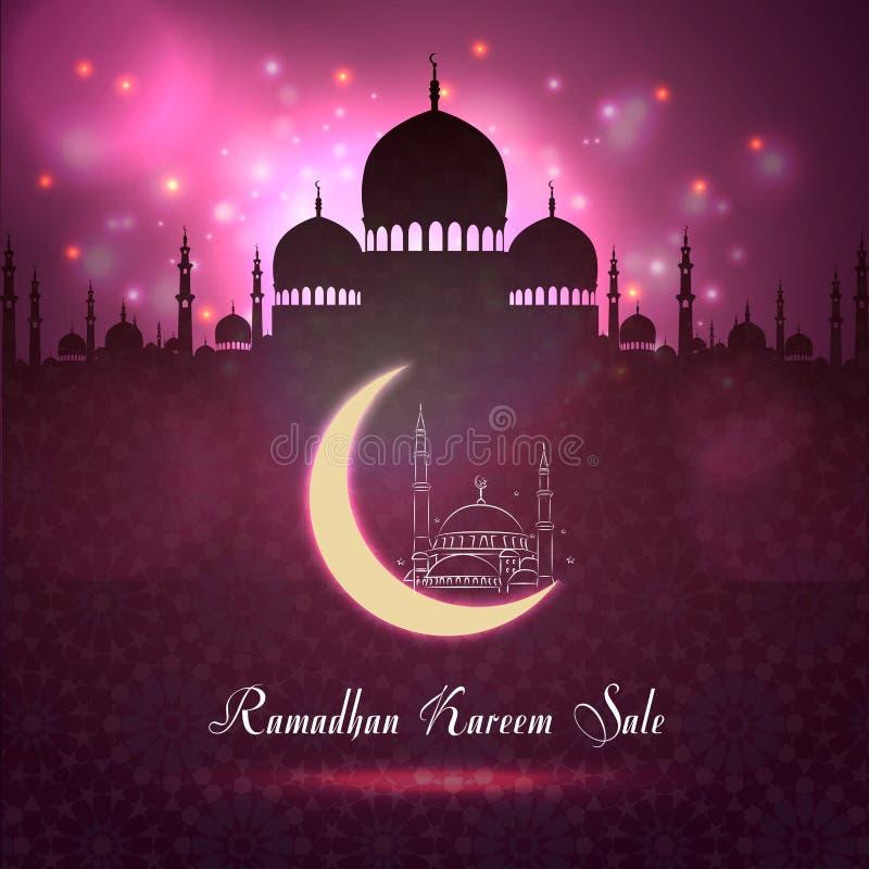 Ramadan Kareem f?rs?ljning med mosk?konturn p? nattbakgrund vektor illustrationer