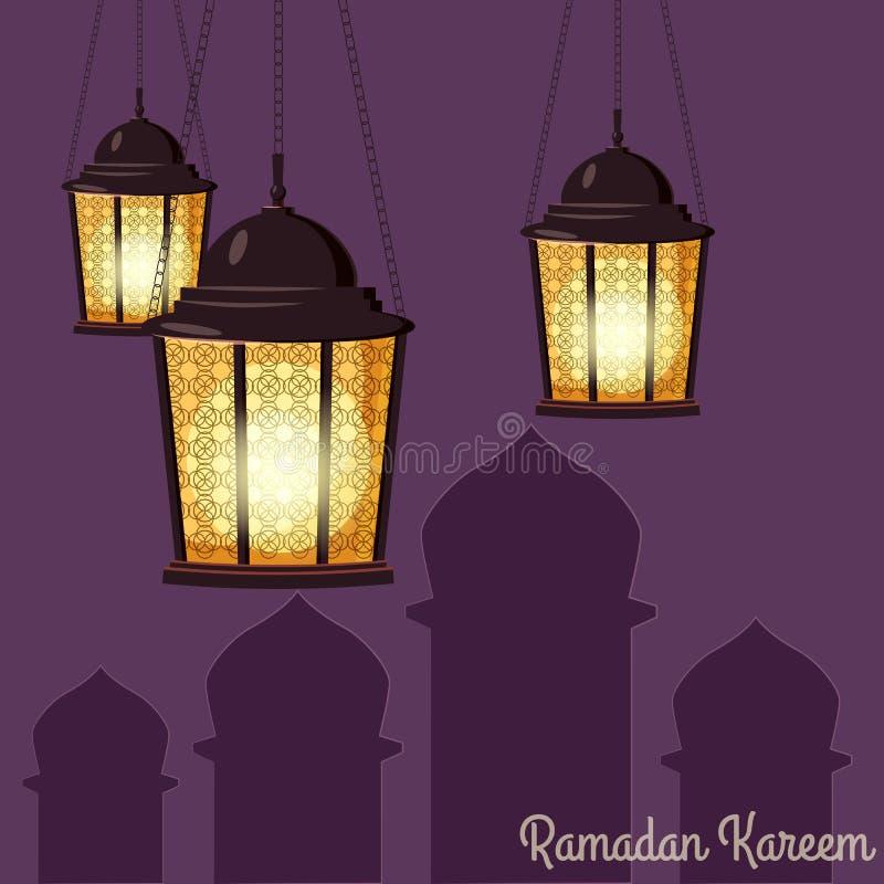 Ramadan Kareem-Feiertagsislam, Illustrationen mit arabischen Laternen Vektor lokalisiert stock abbildung