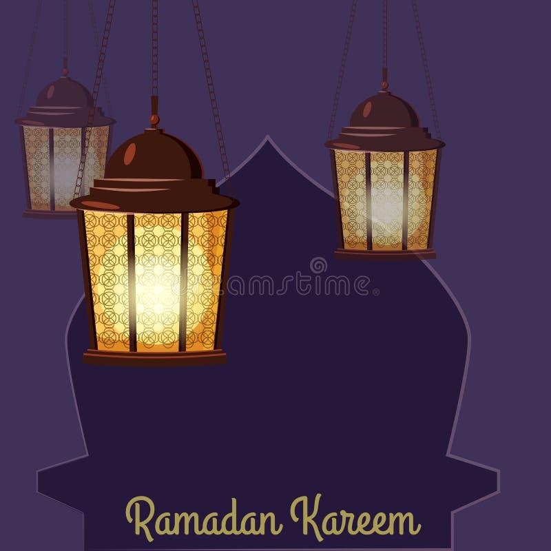 Ramadan Kareem-Feiertagsislam, Illustrationen mit arabischen Laternen Vektor lokalisiert lizenzfreie abbildung
