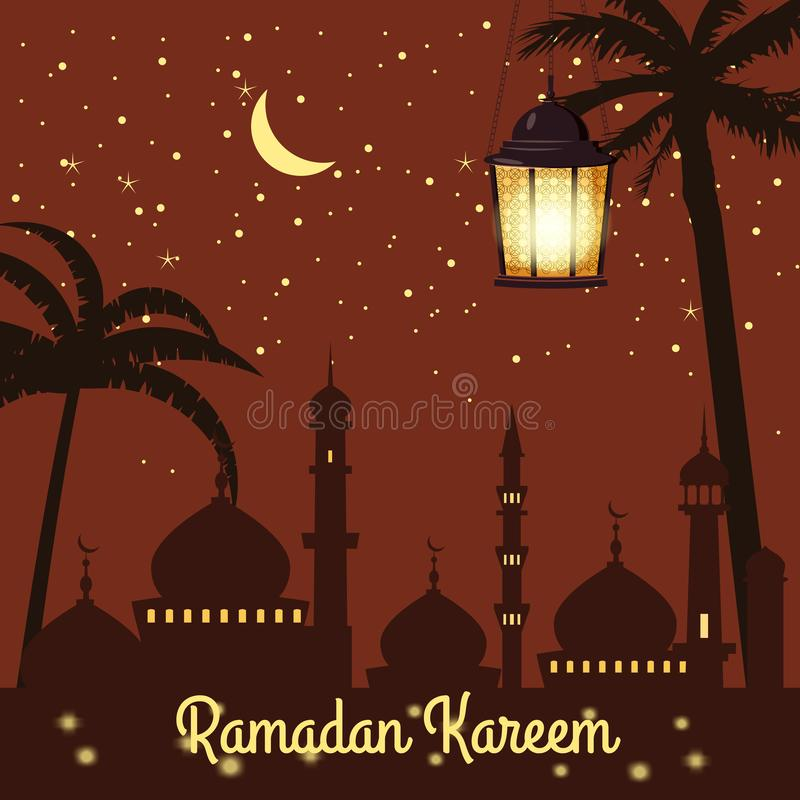 Ramadan Kareem-Feiertagsislam, Moscheen, Minaretts, Illustrationen mit arabischen Laternen und der goldene Halbmond, sternenklare vektor abbildung