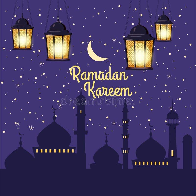Ramadan Kareem-Feiertagsislam, Moscheen, Minaretts, Illustrationen mit arabischen Laternen und der goldene Halbmond, sternenklare lizenzfreie abbildung