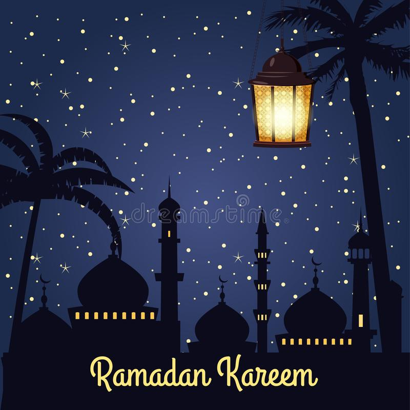 Ramadan Kareem-Feiertagsislam, Moscheen, Minaretts, Illustrationen mit arabischen Laternen und der goldene Halbmond, sternenklare stock abbildung
