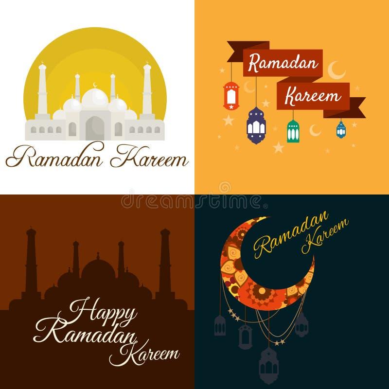 Ramadan Kareem feliz, saludando el sistema del ejemplo del vector del fondo ilustración del vector