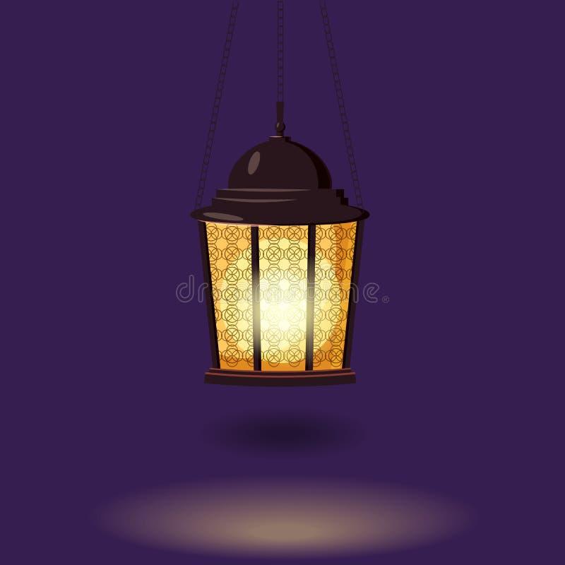 Ramadan Kareem ferieislam, illustrationer med den arabiska lyktan Isolerad vektor stock illustrationer