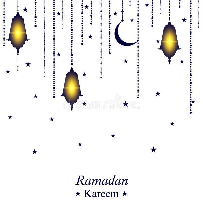 Ramadan kareem festive background white greeting card stock vector ramadan kareem festive background traditional ramadan lantern white greeting card the muslim holiday arabic lamp and crescent moon m4hsunfo
