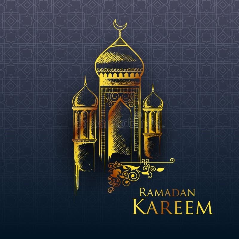 Ramadan Kareem Generous Ramadan hälsningar i arabiskt freehand med moskén vektor illustrationer