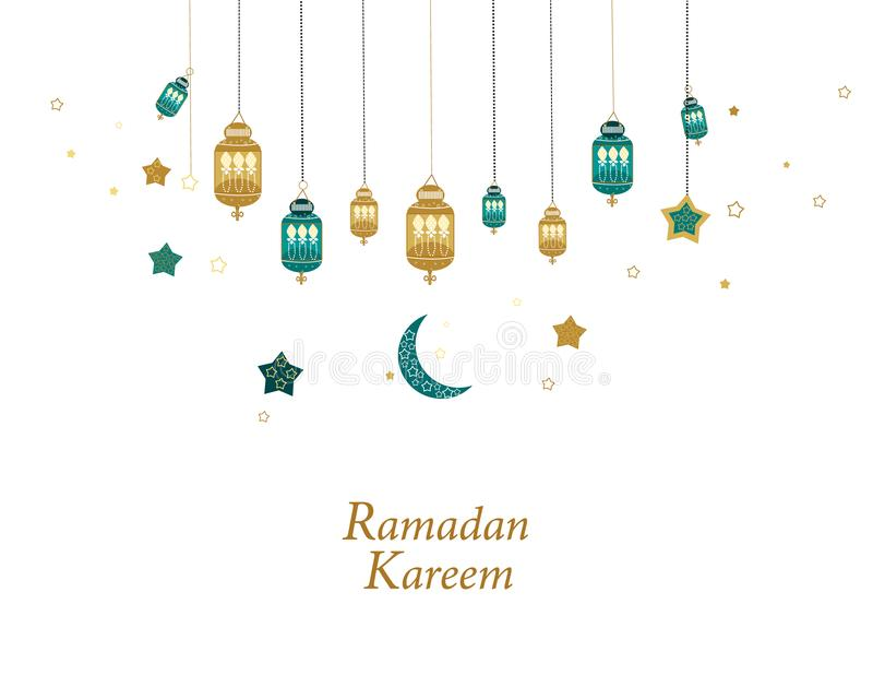 Ramadan Kareem gold and green colored with hanging lamps, crescents and stars. Traditional lantern of Ramadan greeting card. Background stock illustration