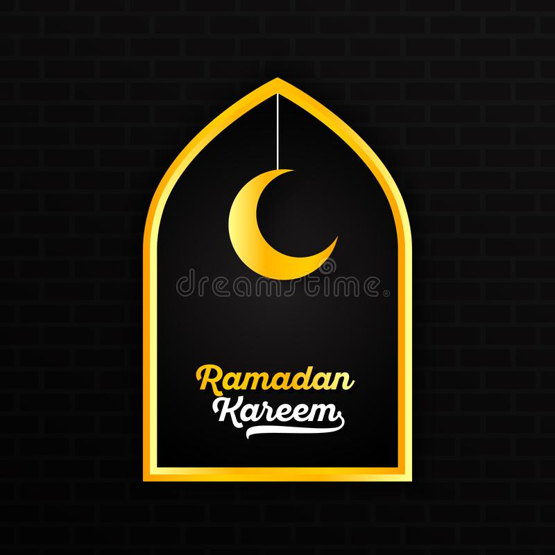 Ramadan Kareem with gold yellow white lettering and hanging crescent moon star in window border against dark brick wall background stock illustration