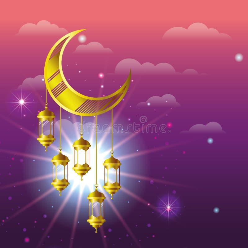 Ramadan kareem golden lamps hanging in moon vector illustration