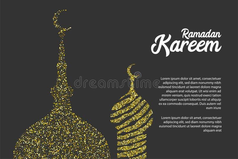 Ramadan Kareem golden sparkle greeting card stock illustration