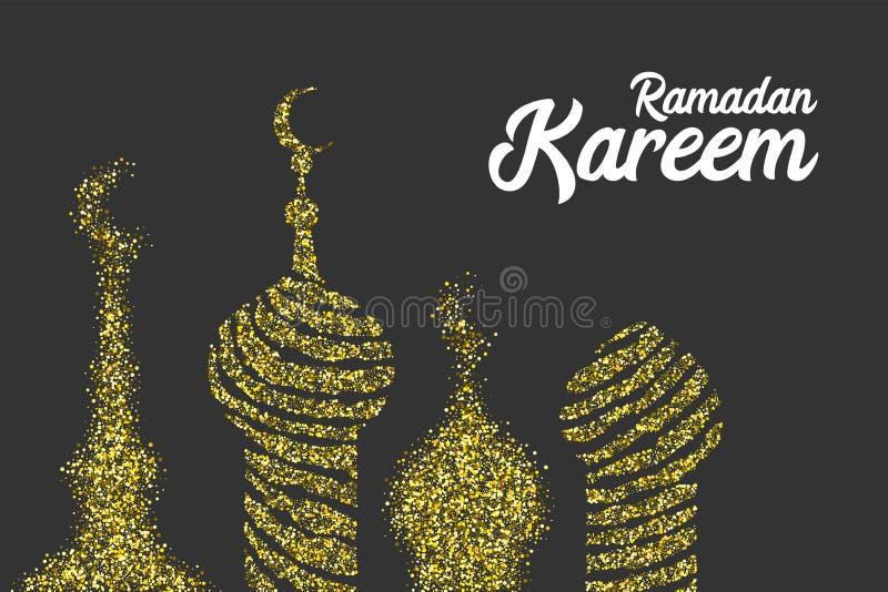 Ramadan Kareem golden sparkle greeting card royalty free illustration