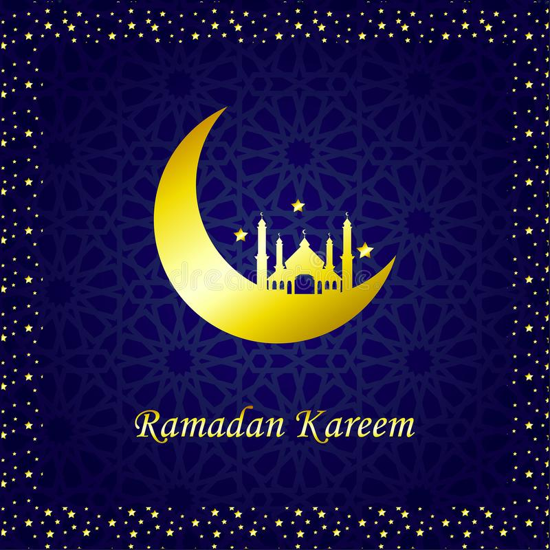 Ramadan Kareem Golden Vector Lune et mosqu?e illustration de vecteur