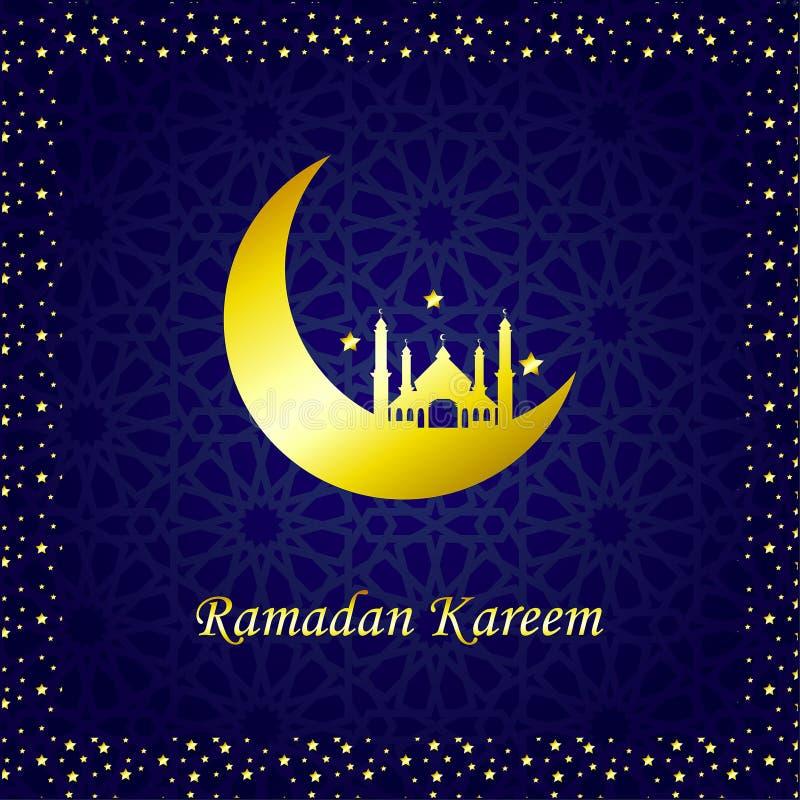 Ramadan Kareem Golden Vector Maan en moskee vector illustratie