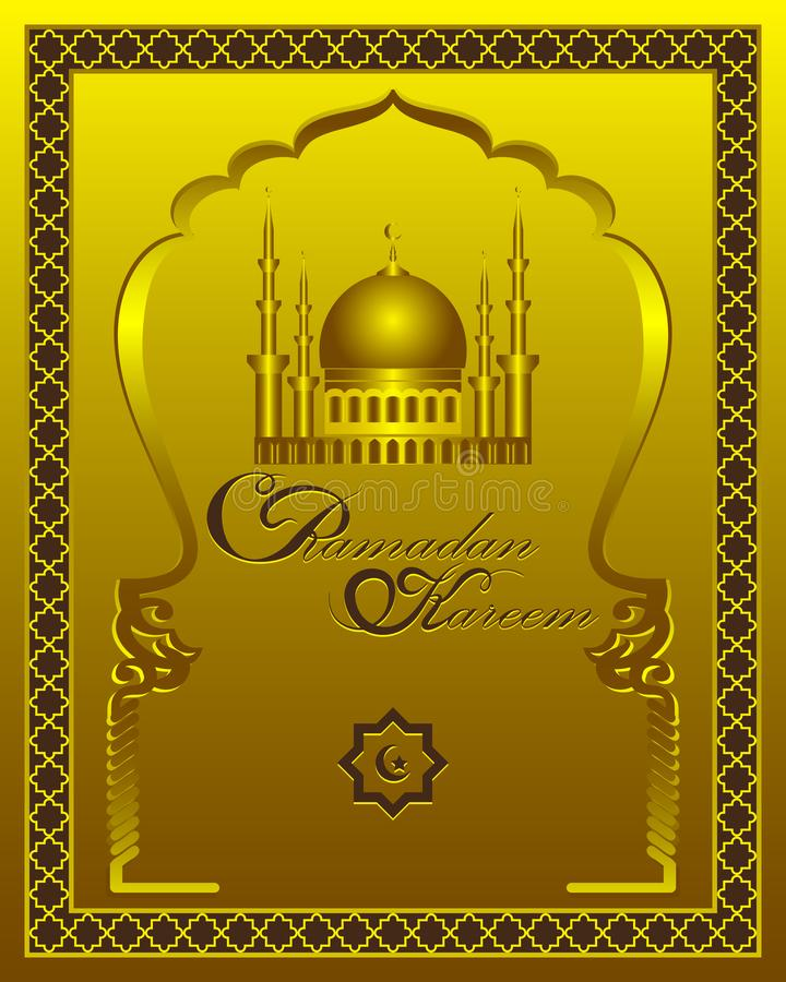 Ramadan Kareem-Goldmodell-Grußkarte Vector islamischen Hintergrund mit Muster, Moscheenhaube und den traditionellen Verzierungen vektor abbildung