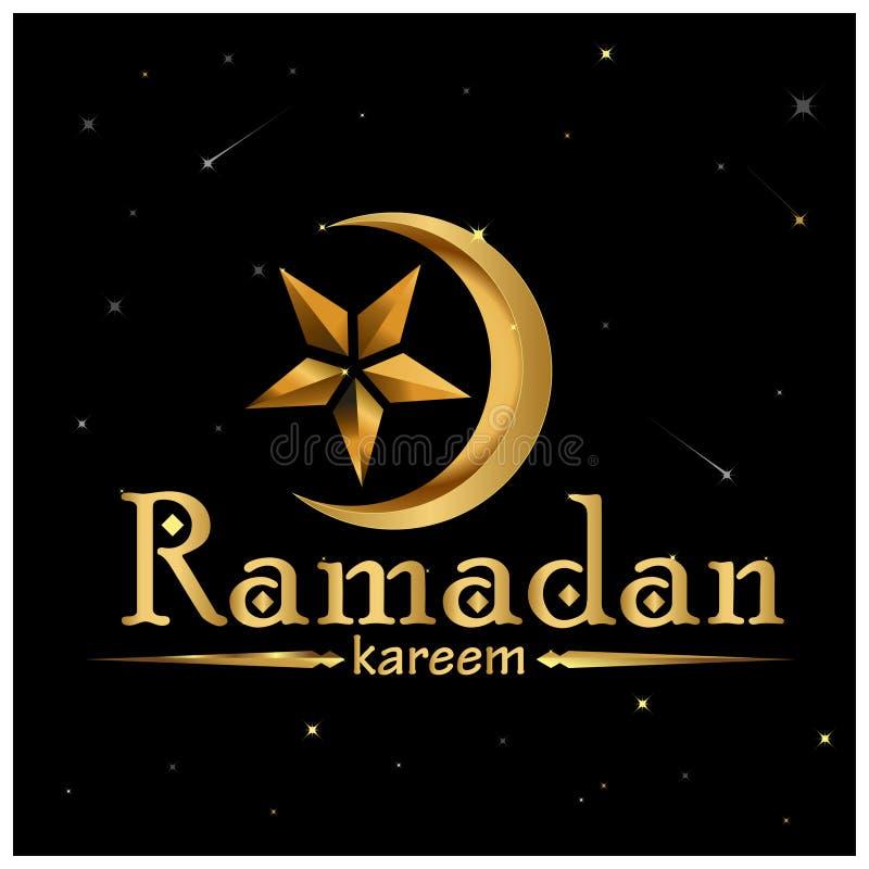 Ramadan Kareem-Goldschöne Grußkarte mit Mondsternikone stock abbildung