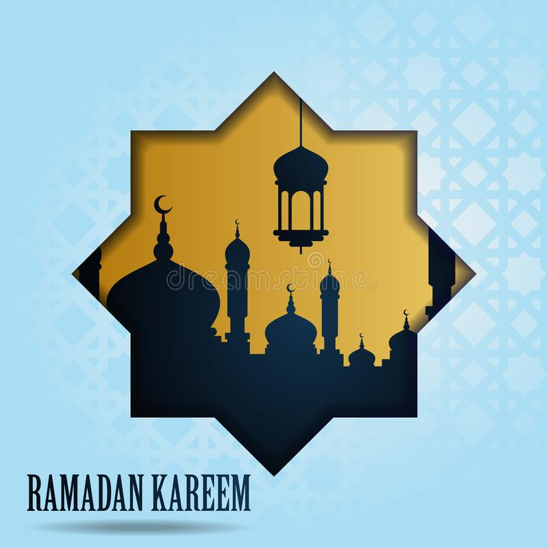 Ramadan-kareem grüßender islamischer Entwurf mit Moschee und arabischer Laterne Auch im corel abgehobenen Betrag stock abbildung