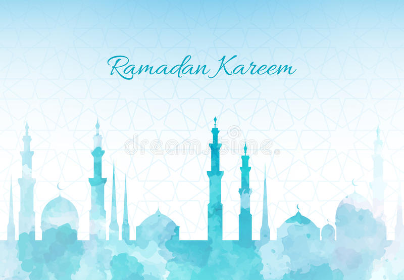 Ramadan Kareem greeting background mosque watercolor illustration with arabic town vector illustration