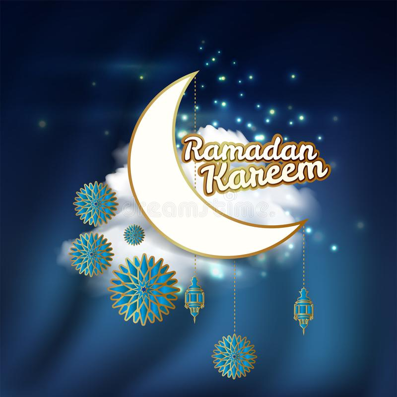 Ramadan Kareem greeting card decorated with arabic lanterns, crescent moon and calligraphy inscription which means ``Ramadan Karee vector illustration