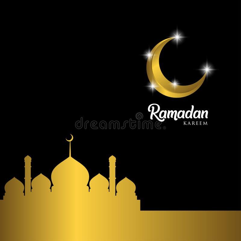 Ramadan Kareem Greeting Card Design avec le dôme fleuri d'or de croissant et de mosquée sur le fond d'or, ENV 10 -, haute de JPEG illustration stock