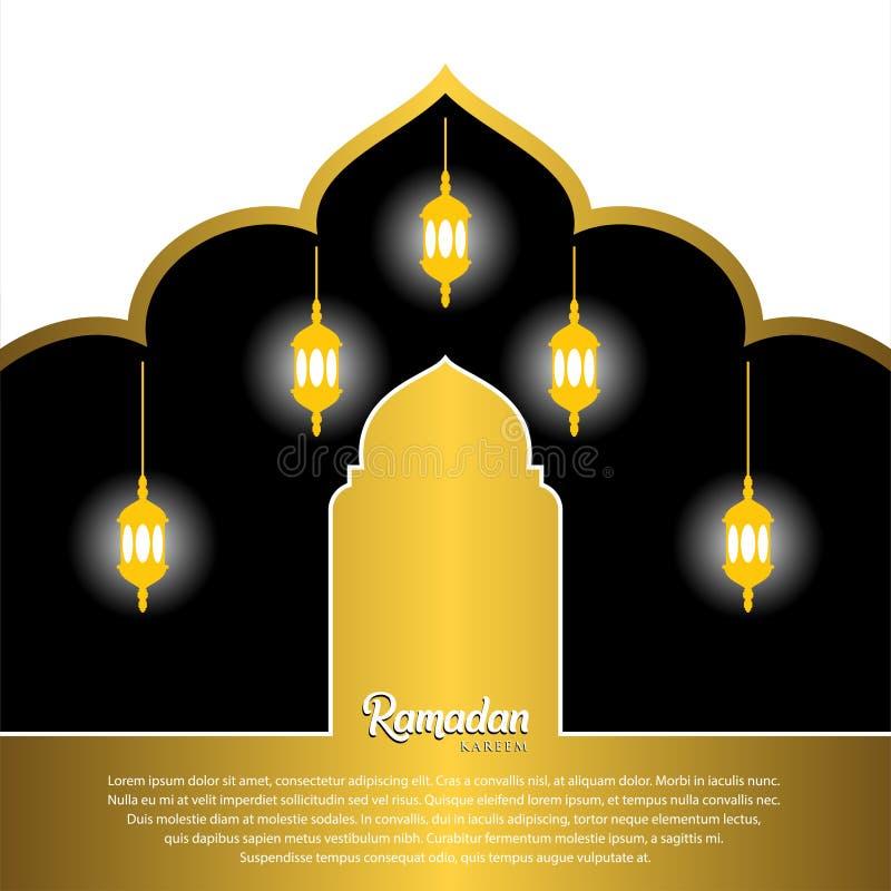 Ramadan Kareem Greeting Card Design avec les lanternes et le dôme arabes de mosquée Sur le fond blanc illustration de vecteur