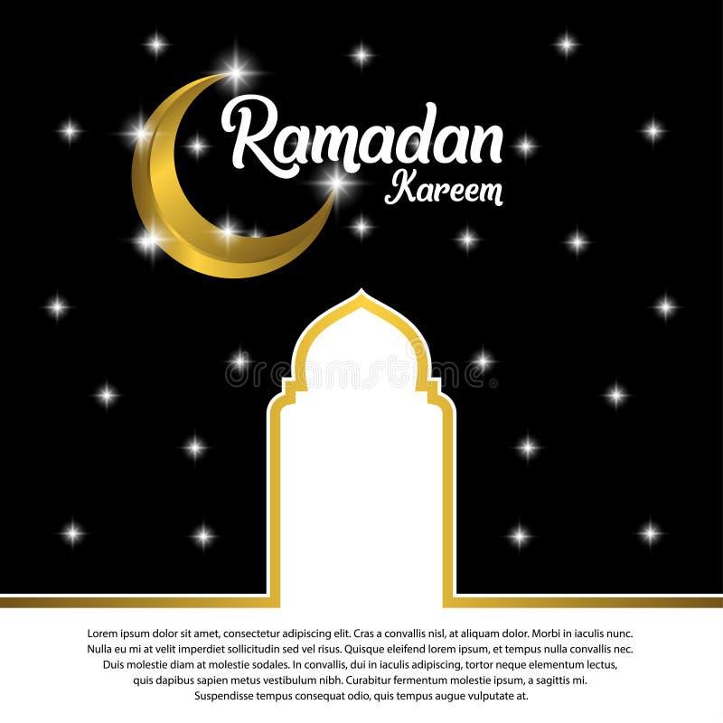 Ramadan Kareem Greeting Card Design con la bóveda adornada de oro del creciente y de la mezquita en fondo negro, EPS 10 - vector, ilustración del vector