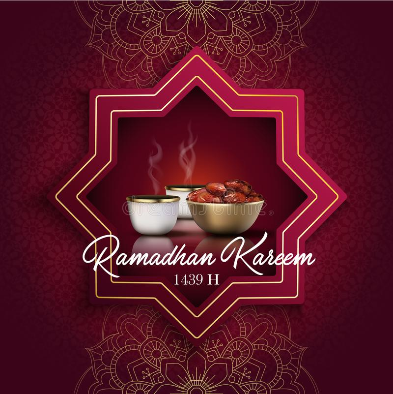 Ramadan Kareem greeting card. Iftar party celebration with traditional coffee cup and bowl of dates. Illustration of Ramadan Kareem greeting card. Iftar party vector illustration