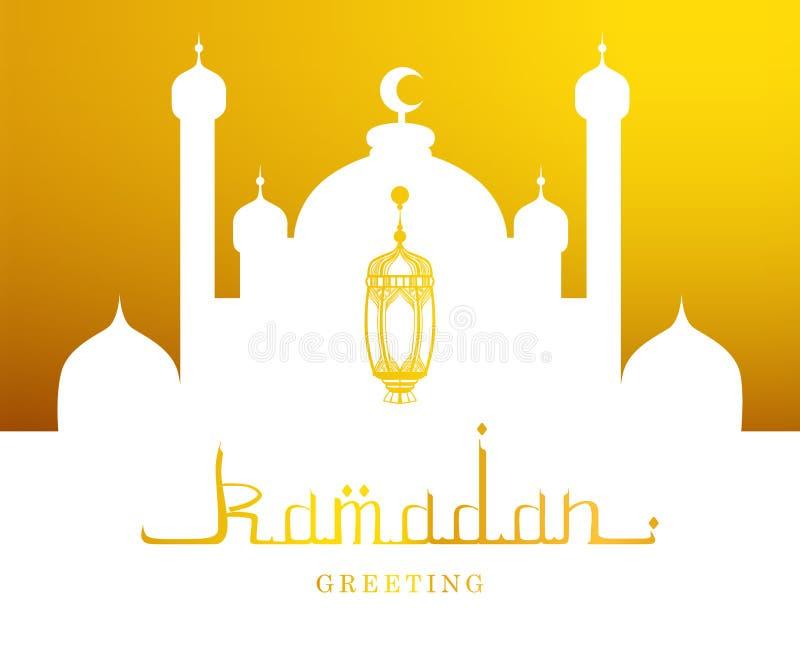 Ramadan Kareem Greeting Card, illustrazione araba di vettore della siluetta della moschea e di calligrafia illustrazione di stock