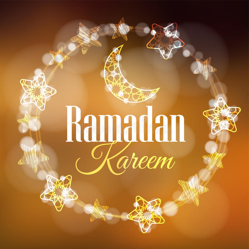 Ramadan Kareem greeting card, invitation with wreath made of light with decorative moons and stars. Golden festive royalty free illustration