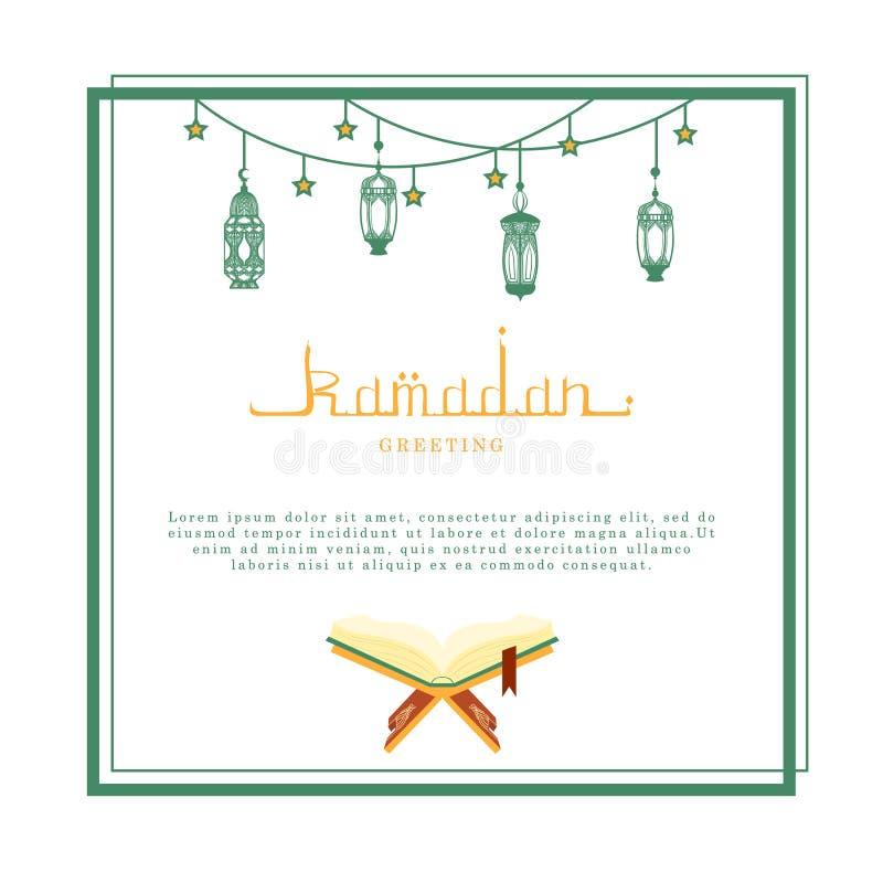 Ramadan Kareem Greeting Card mit Raum für Text, arabische Kalligraphie und traditionelle Laternen-Vektor-Illustration lizenzfreie abbildung
