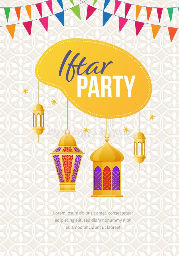 Ramadan Kareem greeting card with picture festive lights. Iftar party. stock illustration