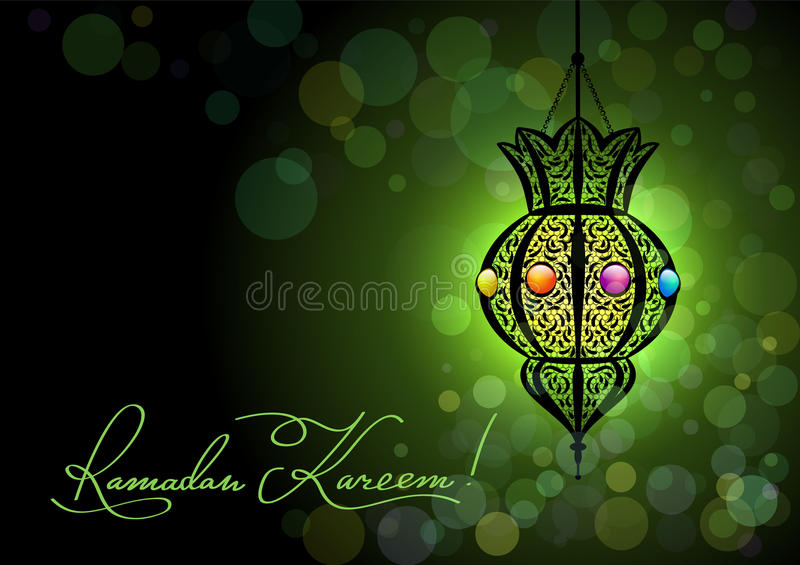 Ramadan Kareem greeting card with a silhouette of Arabic lamp and hand drawn calligraphy lettering on abstract colorful background royalty free illustration