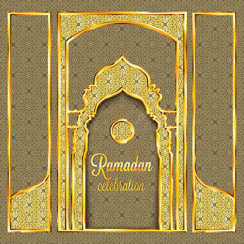 Ramadan Kareem greeting card with traditional islamic pattern, invitation or brochure in eastern style. Arabic circle and stars golden pattern.Gold ornament vector illustration