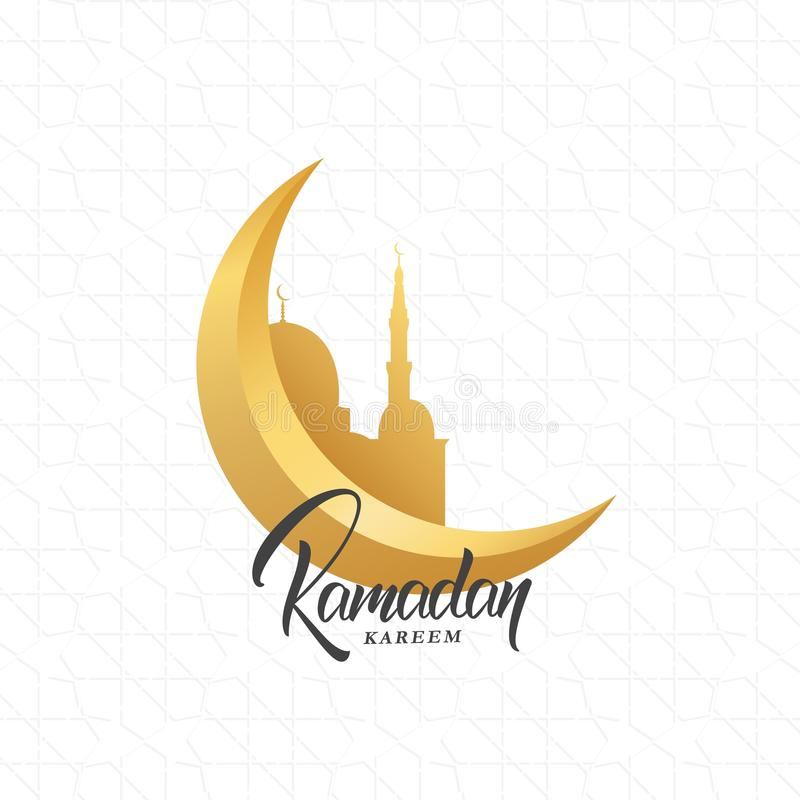 Ramadan Kareem greeting design with crescent moon, arabesque pattern, mosque and Ramadan script lettering stock illustration