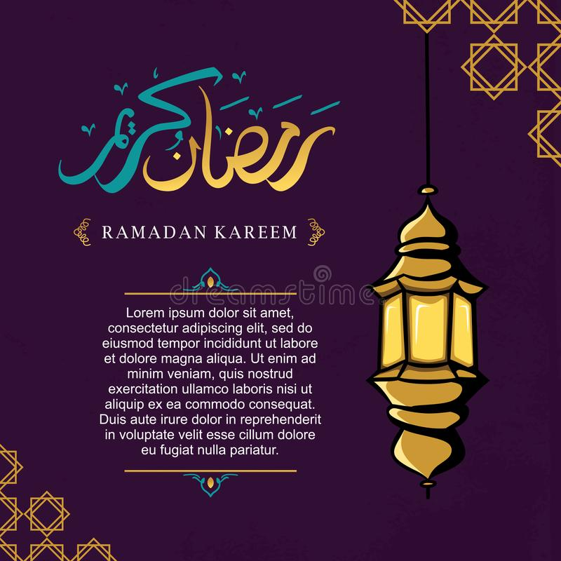 Ramadan kareem greeting design with lantern hand drawn and arabic calligraphy template banner background royalty free illustration