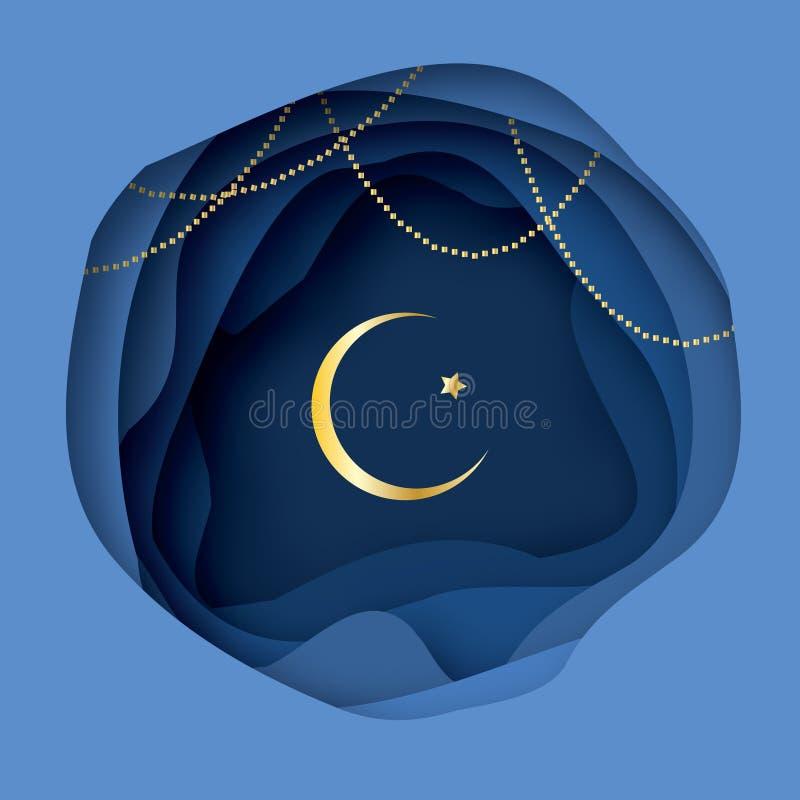Ramadan Kareem Greeting-kaart met Arabisch Gouden Symbool van Islam - Crescent Moon royalty-vrije illustratie