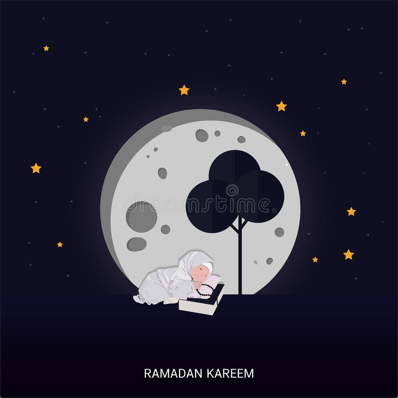 Ramadan Kareem greeting lettering card with moon and star royalty free illustration