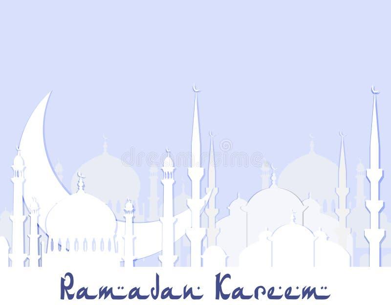 ramadan kareem greeting lyckligt nytt år för 2007 kort Stiliserad teckning av konturn av östra staden klipp från vitbok royaltyfri illustrationer