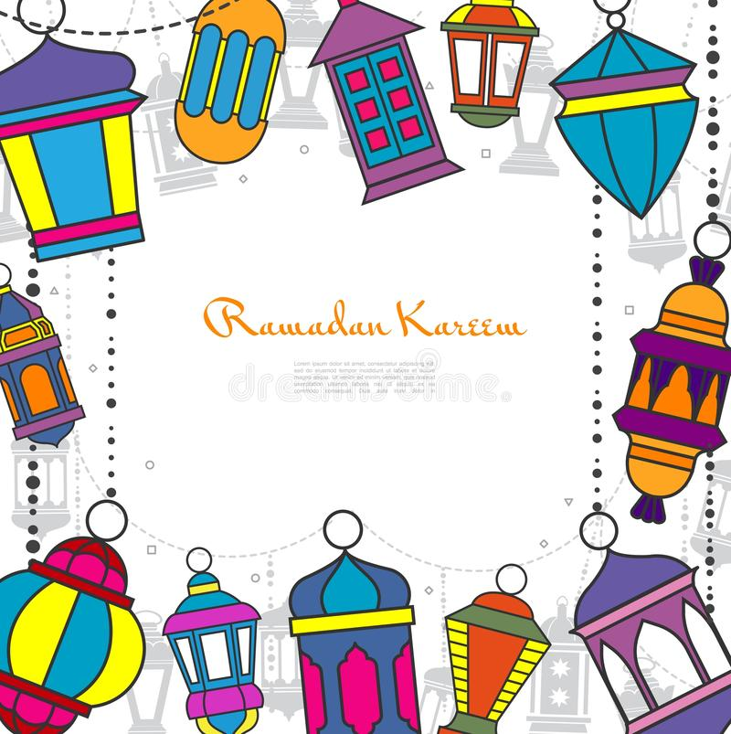 Ramadan Kareem Greeting Template dibujado mano ilustración del vector