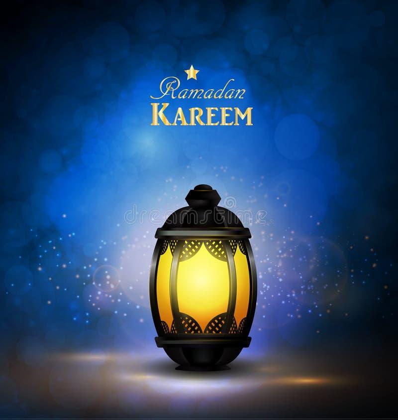 Ramadan Kareem Greetings con la lanterna variopinta illustrazione vettoriale