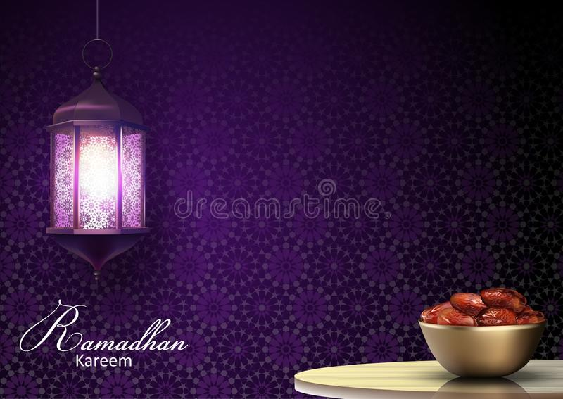Ramadan Kareem greetings with lanterns hanging and a bowl of dates on dinner table. Illustration of Ramadan Kareem greetings with lanterns hanging and a bowl of stock illustration