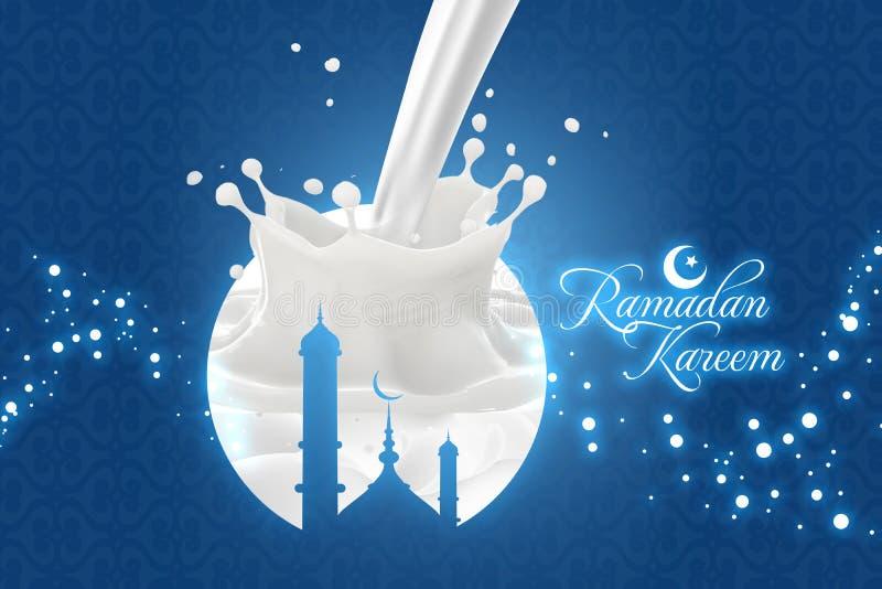 Ramadan Kareem Greetings med mjölkar färgstänk royaltyfria foton