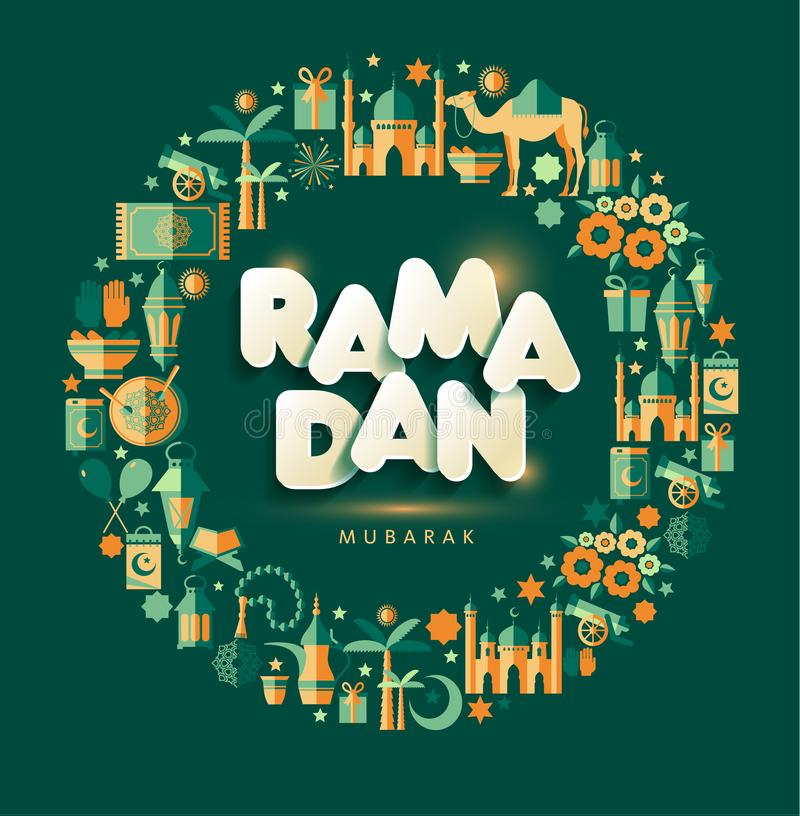 Ramadan Kareem greting illustration av Ramadanberöm royaltyfri illustrationer