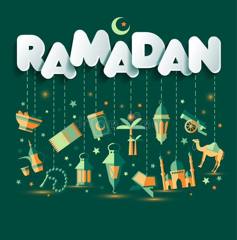 Ramadan Kareem greting illustration av Ramadanberöm vektor illustrationer