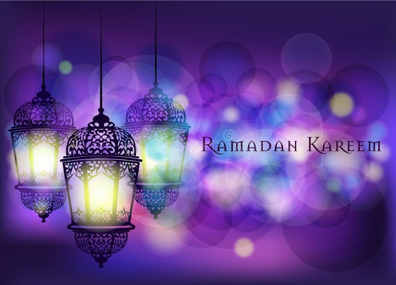 Ramadan Kareem-groet op vage achtergrond met mooie verlichte Arabische lamp Vectorillustratie