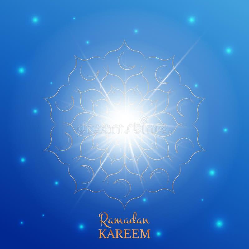 Ramadan Kareem-groetkaart Arabische achtergrond met glanzende sterren, gouden bloempatroon en typografie