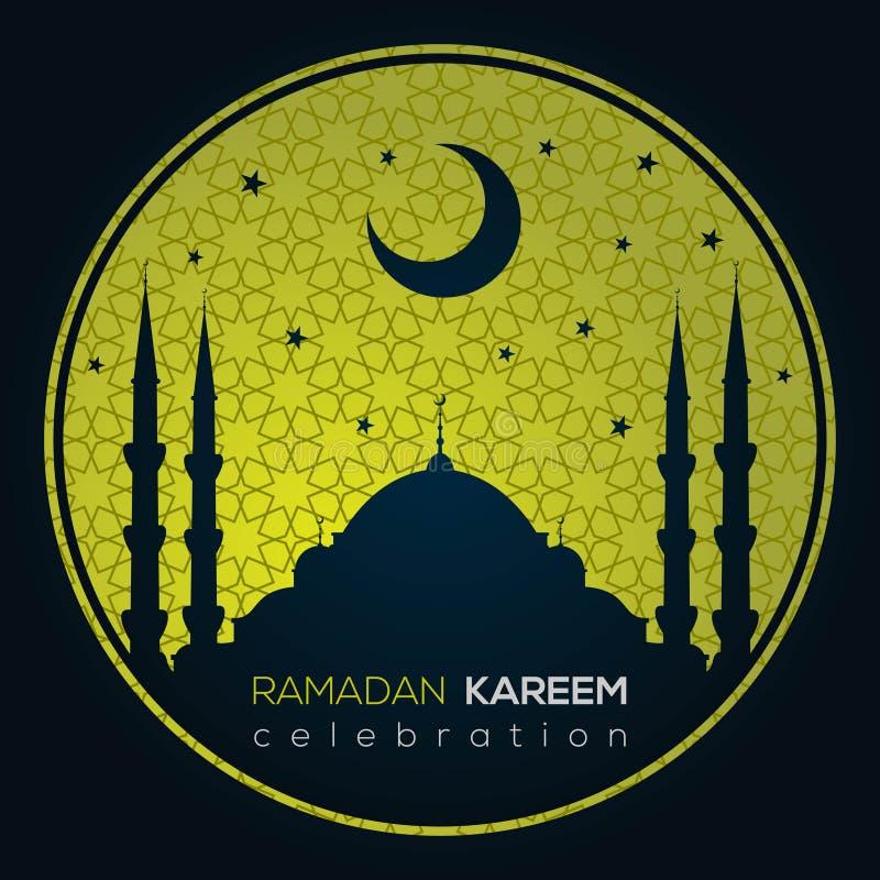 Ramadan Kareem-groetkaart of banner met Moskeesilhouet De achtergrond is verfraaid met Arabisch patroon stock illustratie