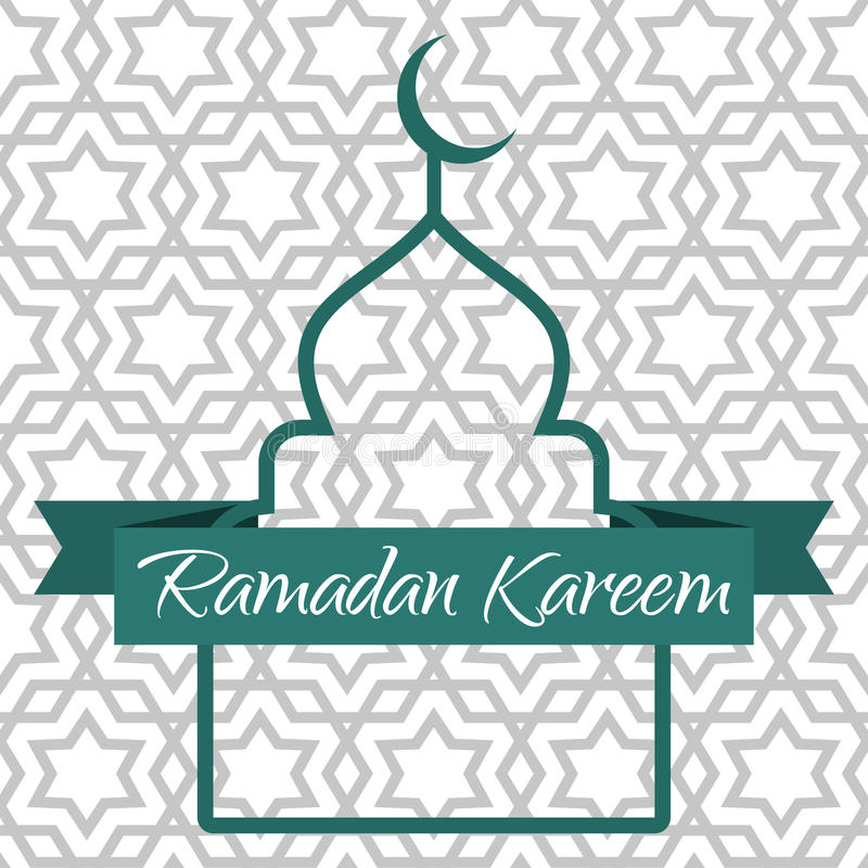 Ramadan Kareem-groetkaart Contour van de moskee en het lint royalty-vrije illustratie