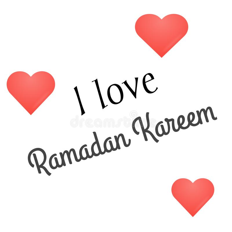 Ramadan Kareem-groetkaart Ik houd van Ramadan Kareem Text op witte achtergrond, Ramadhan Mubarak vector illustratie